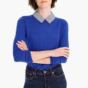 J. Crew Striped Collar Pullover Sweater